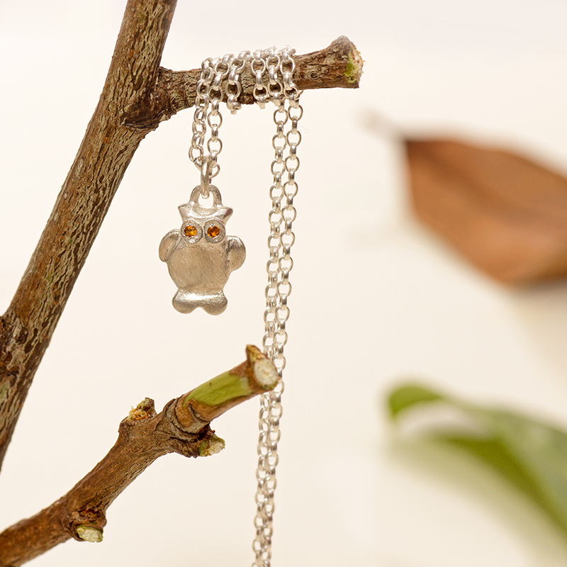 Wise Owl Pendant In Sterling Silver With Citrine.