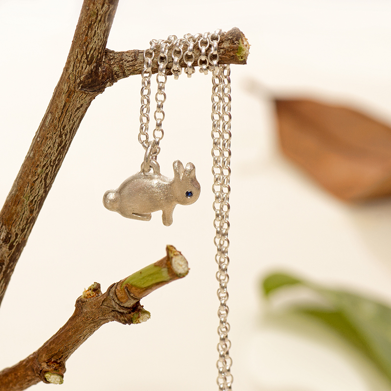 Curious Rabbit Pendant In Sterling Silver With Sapphire